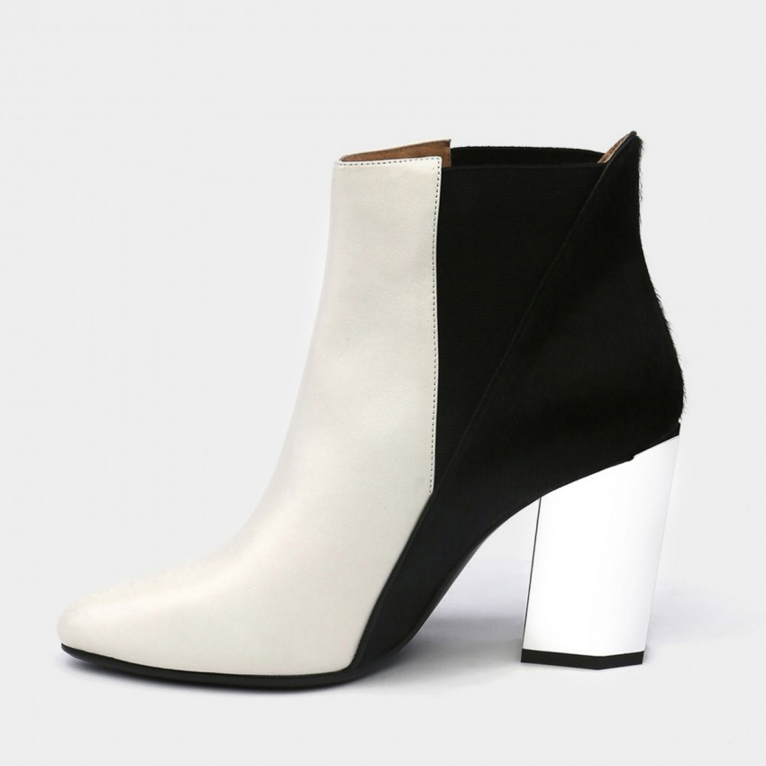 Buy Jady Rose Ankle High Medium-High Metallic Chunky Heel Stretchy White Boots online, shop Jady Rose with free shipping