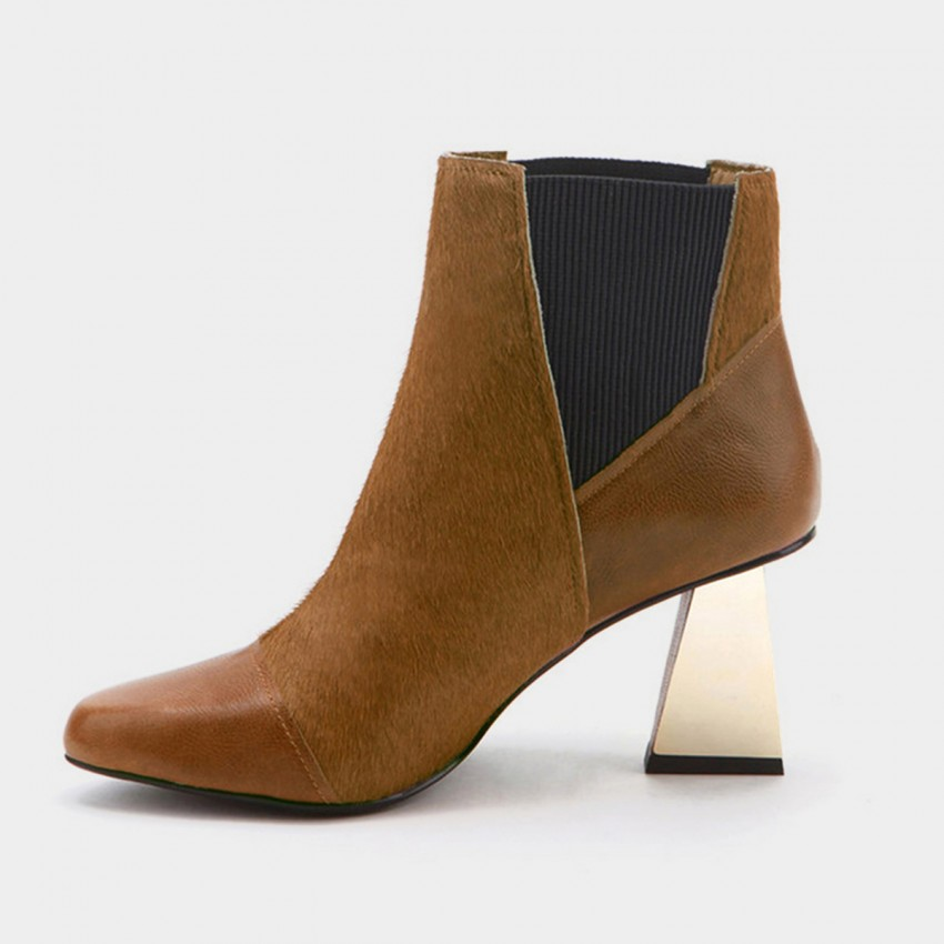Buy Jady Rose Ankle High Slender Rectangular Heel Patterned Brown Boots online, shop Jady Rose with free shipping