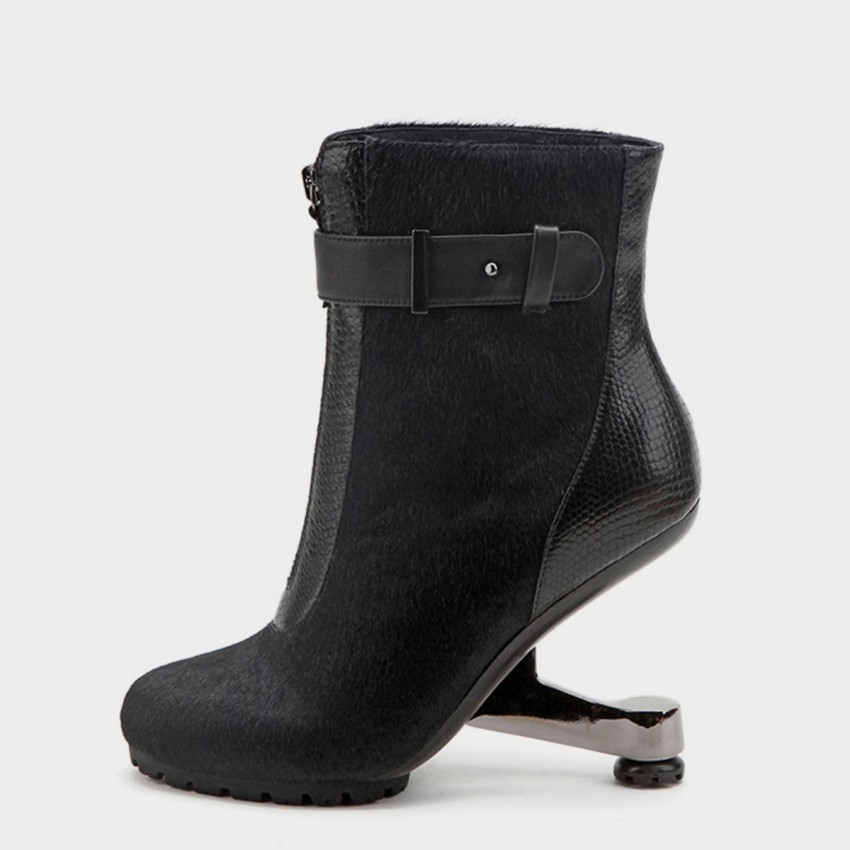Buy Jady Rose Ankle High Medium Creative Heel Furry Black Boots online, shop Jady Rose with free shipping