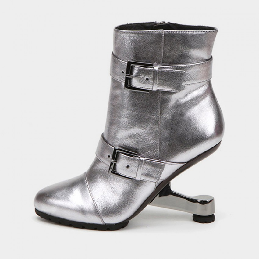 Buy Jady Rose Ankle High Medium Creative Heel Double Buckle Silver Boots online, shop Jady Rose with free shipping