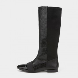 Jady Rose Low Heel Riding Style Patent Leather Black Boots (17DR10267)