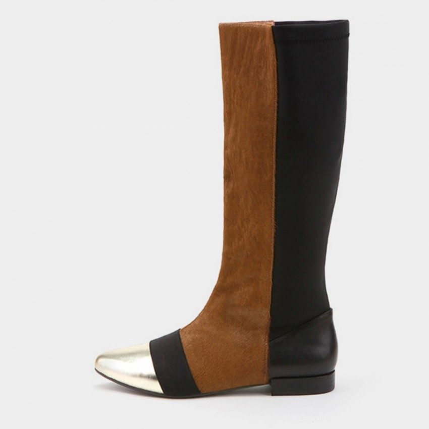 Buy Jady Rose Low Heel Riding Style Patent Leather Brown Boots online, shop Jady Rose with free shipping