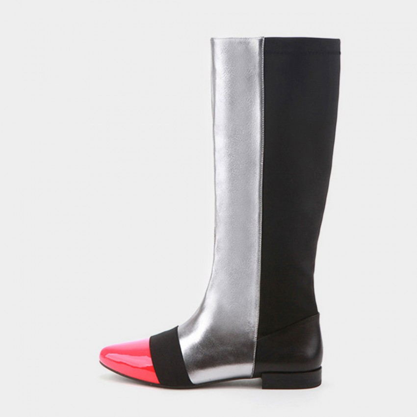 Buy Jady Rose Low Heel Riding Style Patent Leather Silver Boots online, shop Jady Rose with free shipping