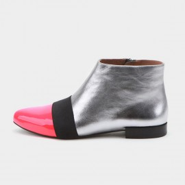Jady Rose Flat Ankle High Patterned Patent Leather Silver Boots (17DR10268)