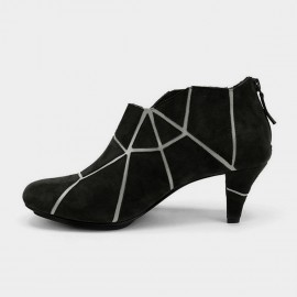 Jady Rose Marble Vein Oxford Black Boots (17DR10269)