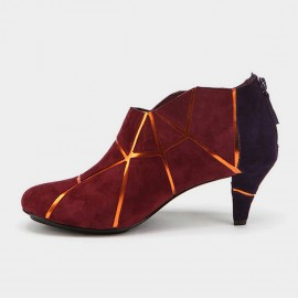 Jady Rose Marble Vein Oxford Wine Boots (17DR10269)