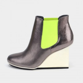 Jady Rose Ankle High Stretchy Patterned Wedge Silver Boots (17DR10270)