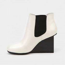 Jady Rose Ankle High Stretchy Patterned Wedge White Boots (17DR10270)