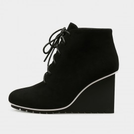 Jady Rose Ankle High Wedge Sneaker Black Boots (17DR10271)