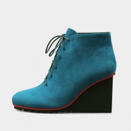Jady Rose Ankle High Wedge Sneaker Blue Boots (17DR10271)
