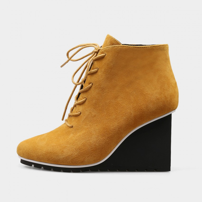 Buy Jady Rose Ankle High Wedge Sneaker Yellow Boots online, shop Jady Rose with free shipping