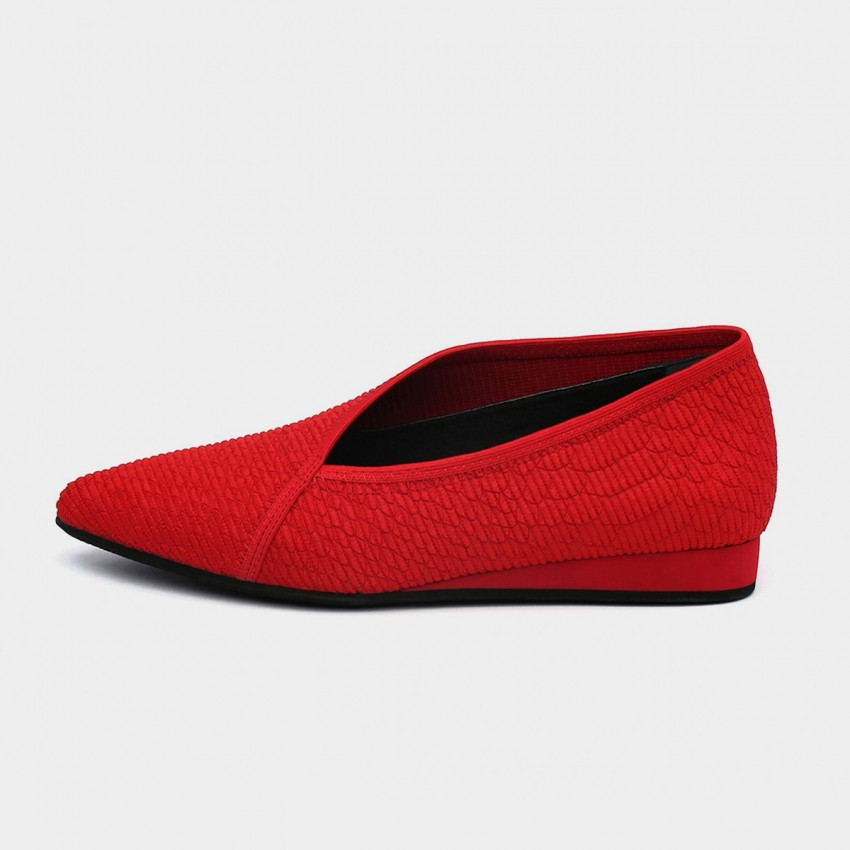 Buy Jady Rose V-Ankle Oxford Style Solid Red Flats online, shop Jady Rose with free shipping