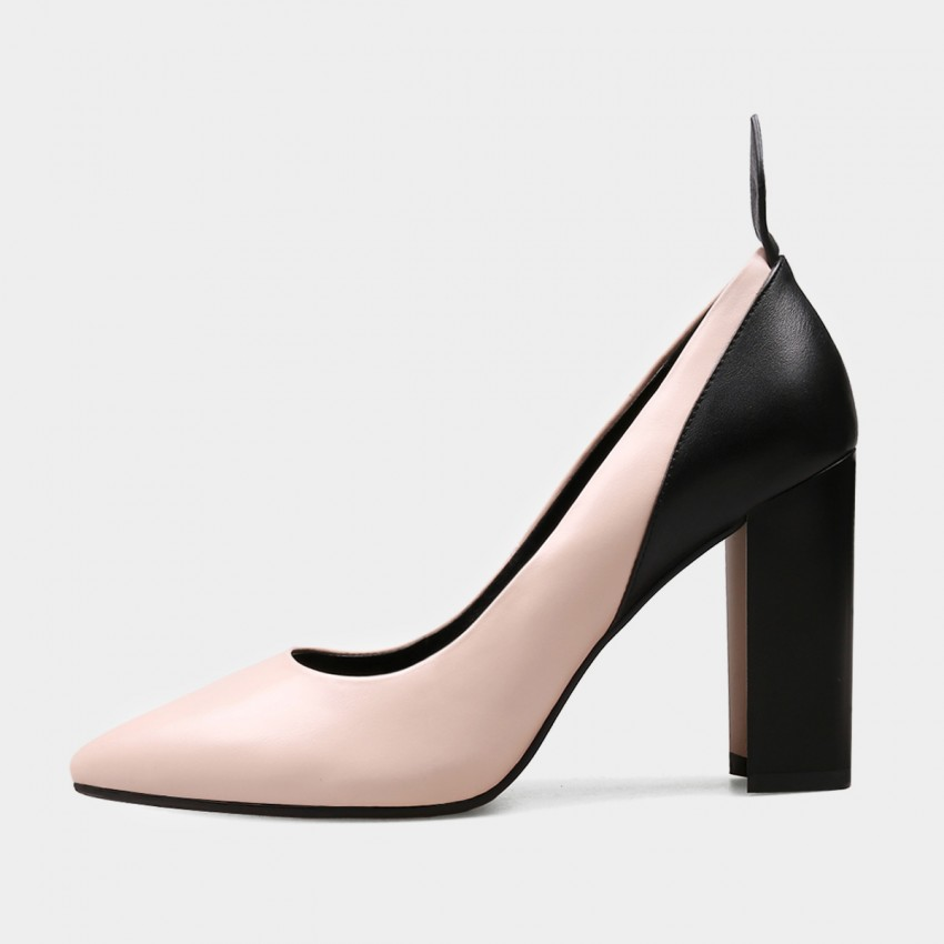 Buy Jady Rose Double Color Chunky Heel Pink Pumps online, shop Jady Rose with free shipping