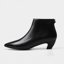 Jady Rose Ankle High Low Curvy Black Boots (17DR10282-A)