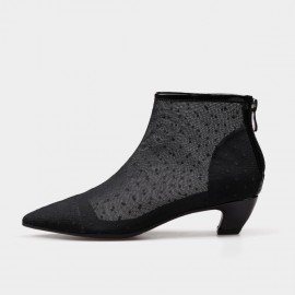 Jady Rose Ankle High Low Curvy Polka Dot Lace Black Boots (17DR10282-B)