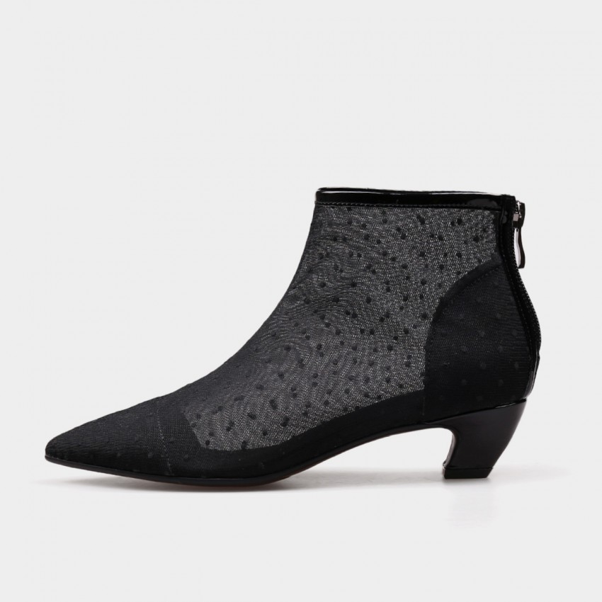 Buy Jady Rose Ankle High Low Curvy Polka Dot Lace Black Boots online, shop Jady Rose with free shipping