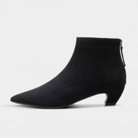 Jady Rose Ankle High Low Curvy Suede Black Boots (17DR10282-C)
