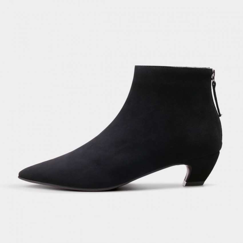 Buy Jady Rose Ankle High Low Curvy Suede Black Boots online, shop Jady Rose with free shipping