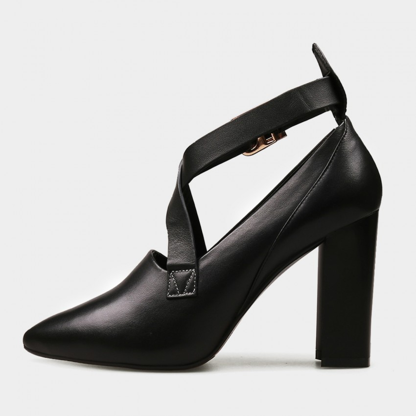 Buy Jady Rose High Chunky Heel Cross Straps Black Pumps online, shop Jady Rose with free shipping