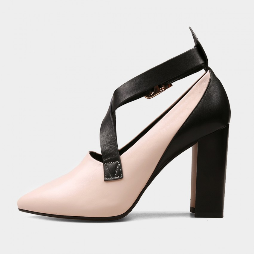 Jady Rose High Chunky Heel Cross Straps Pink Pumps (17DR10283)