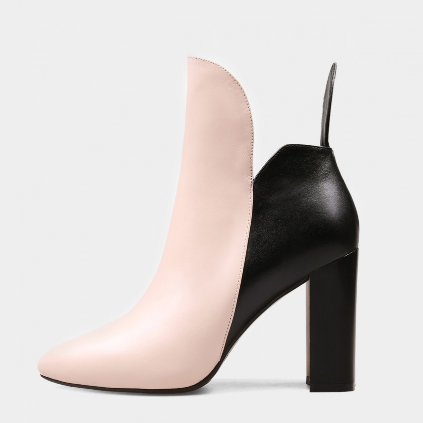 Buy Jady Rose Ankle High High Chunky Heel Designer Ankle Line Pink Boots online, shop Jady Rose with free shipping