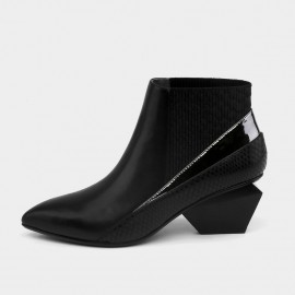 Jady Rose Ankle High Low Indented Heel Multi-Texture Black Boots (17DR10287)