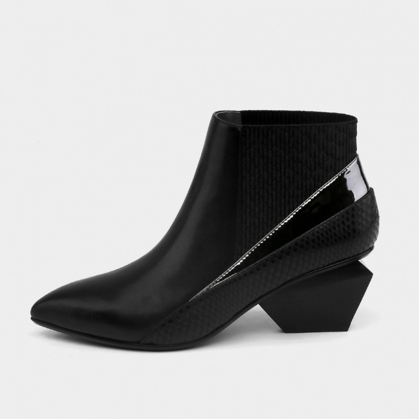 Buy Jady Rose Ankle High Low Indented Heel Multi-Texture Black Boots online, shop Jady Rose with free shipping
