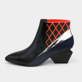 Jady Rose Ankle High Low Indented Heel Multi-Texture Red Boots (17DR10287)