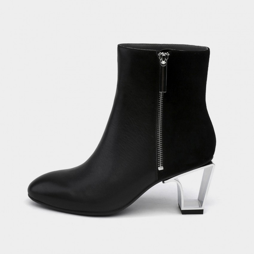 Buy Jady Rose Hollow Metal Heeled Suede Patchwork Leather Texture Black Boots online, shop Jady Rose with free shipping