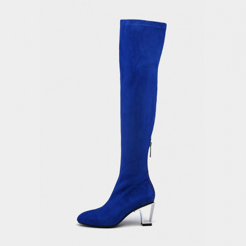 Buy Jady Rose Slim Fit Thigh Length Metal Heel Zipper Blue Boots online, shop Jady Rose with free shipping