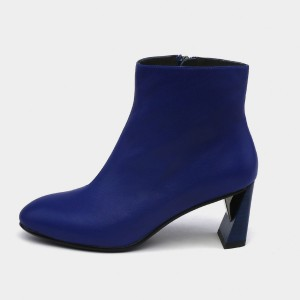 Jady Rose Geometric Heel Suede Zipper Blue Boots (17DR10295)