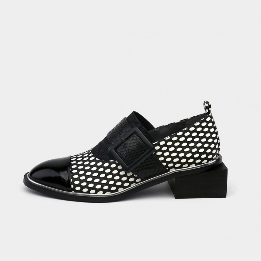 Buy Jady Rose Polka Dots Buckle Strap Square Low Heeled White Pumps online, shop Jady Rose with free shipping