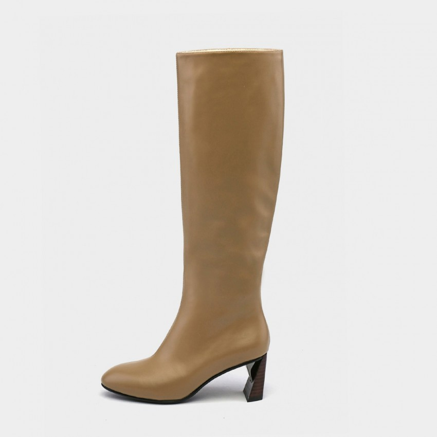 Buy Jady Rose Leather Zipper Geometric Heel Knee Length Brown Boots online, shop Jady Rose with free shipping