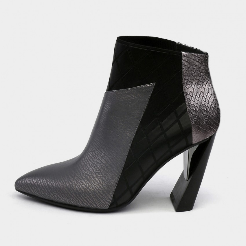 Buy Jady Rose Boa Skin Texture Patchwork Geometric High Heels Gun Boots online, shop Jady Rose with free shipping