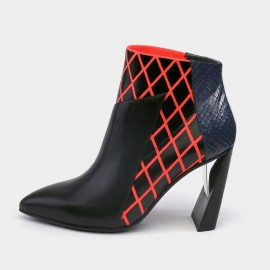 Jady Rose Boa Skin Texture Patchwork Geometric High Heels Red Boots (17DR10301)