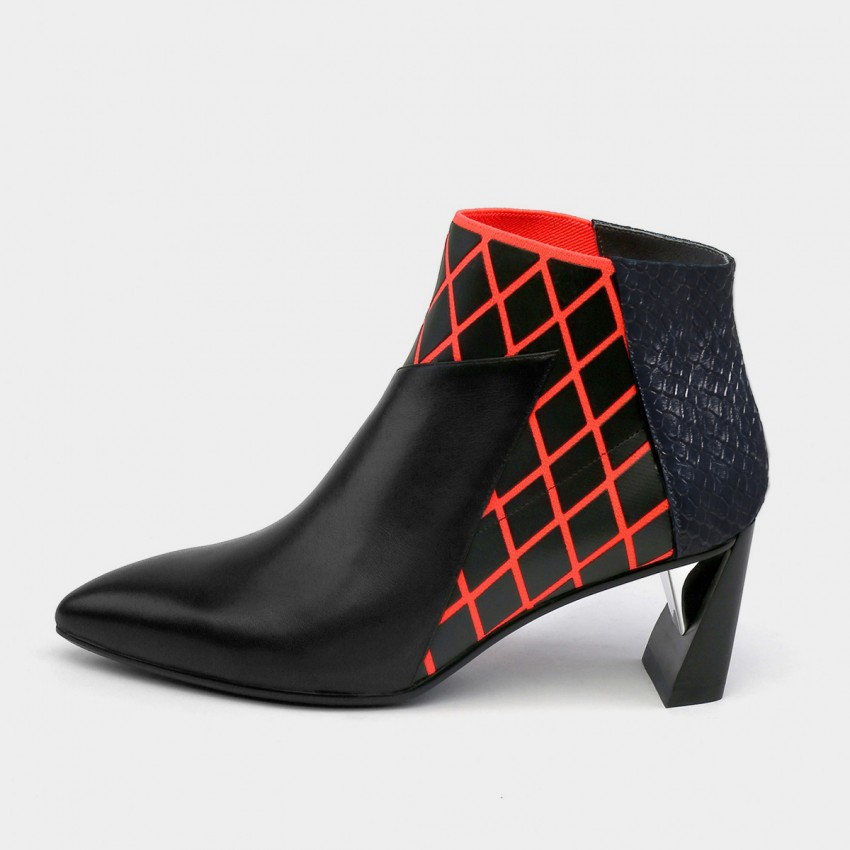 Buy Jady Rose Boa Skin Texture Patchwork Geometric Mid Heels Red Boots online, shop Jady Rose with free shipping
