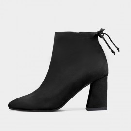 Jady Rose Cherry Knot Suede Point Toe Chunky Heeled Black Boots (17DR10305)