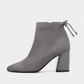 Jady Rose Cherry Knot Suede Point Toe Chunky Heeled Grey Boots (17DR10305)