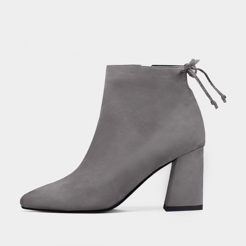 Buy Jady Rose Cherry Knot Suede Point Toe Chunky Heeled Grey Boots online, shop Jady Rose with free shipping