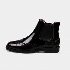 Jady Rose Glossy Glamour Enamel Leather Black Boots (17DR10307D)