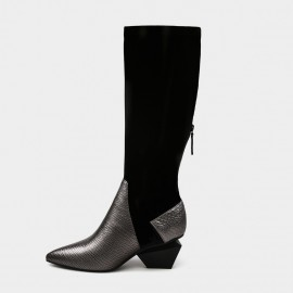 Jady Rose Leather Patchwork Knee Length Slim Fit Diamond Heeled Gun Boots (17DR10308)