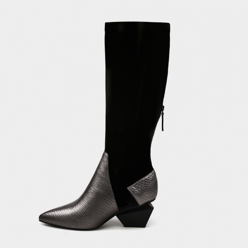 Buy Jady Rose Leather Patchwork Knee Length Slim Fit Diamond Heeled Gun Boots online, shop Jady Rose with free shipping
