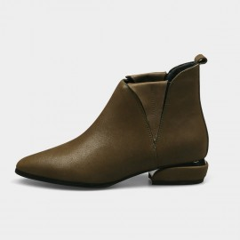 Jady Rose Inside Out Point Toe Low Heeled Ankle Green Boots (17DR10313)