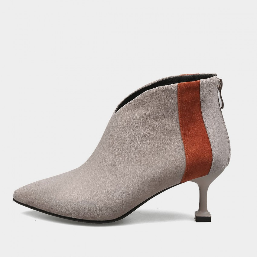 Buy Jady Rose Contrast Highlight Patchwork Suede Stiletto Low Heeled Ankle Apricot Boots online, shop Jady Rose with free shipping