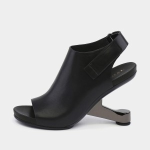Jady Rose The Impossible Open Toe Slingback Heeled Black Sandals (18DR10521)