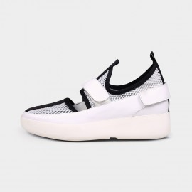 Jady Rose Eyelet Mesh Magic Tape Leather White Sneakers (18DR10541)