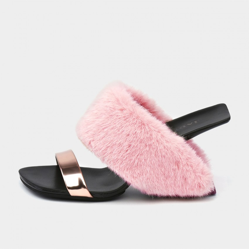 Buy Jady Rose Wide Faux Fur Pink Sandals online, shop Jady Rose with free shipping