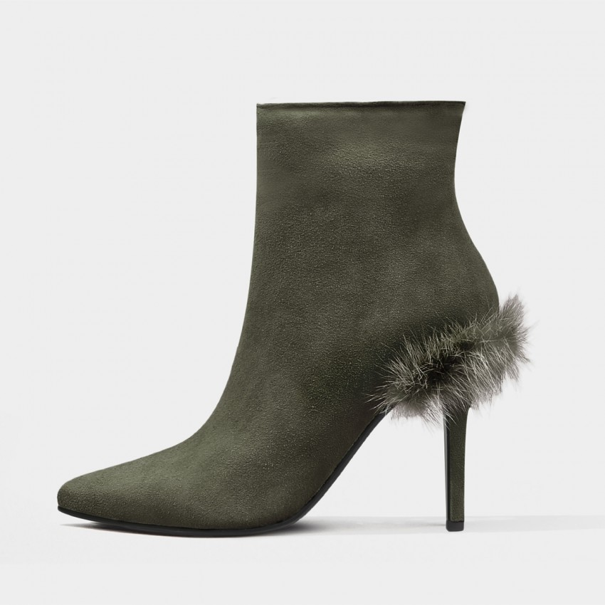 Buy Jady Rose Stiletto Ankle Green Boots online, shop Jady Rose with free shipping