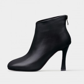 Jady Rose Leather Ankle Black Boots (18DR10552)