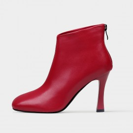 Jady Rose Leather Ankle Red Boots (18DR10552)